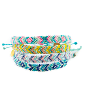 Pink & Denim Chevron Pattern Friendship Bracelet