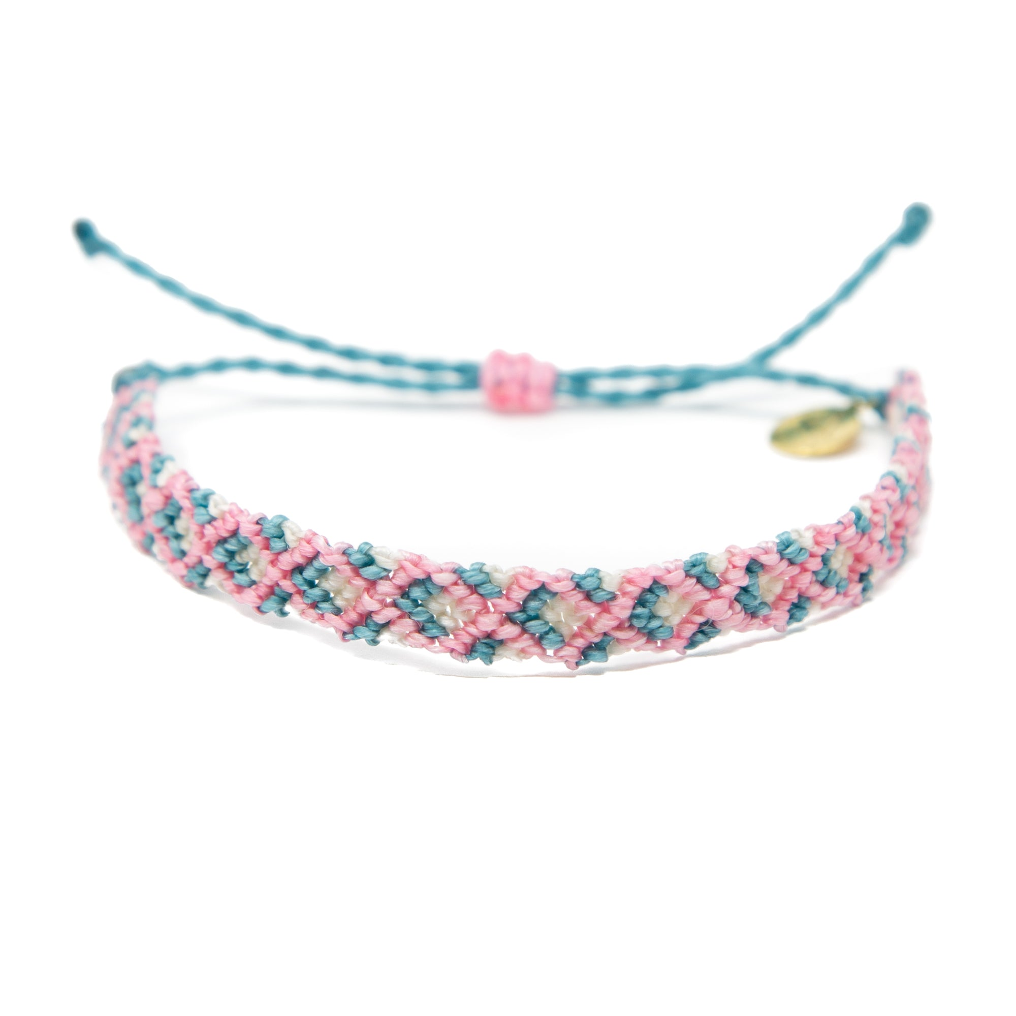 Pink & Teal Double Diamond Friendship Bracelet