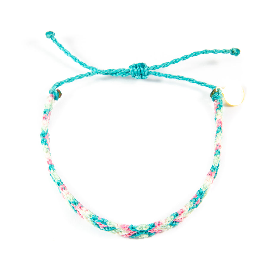 Pink & Teal Diamond Pattern Friendship Bracelet