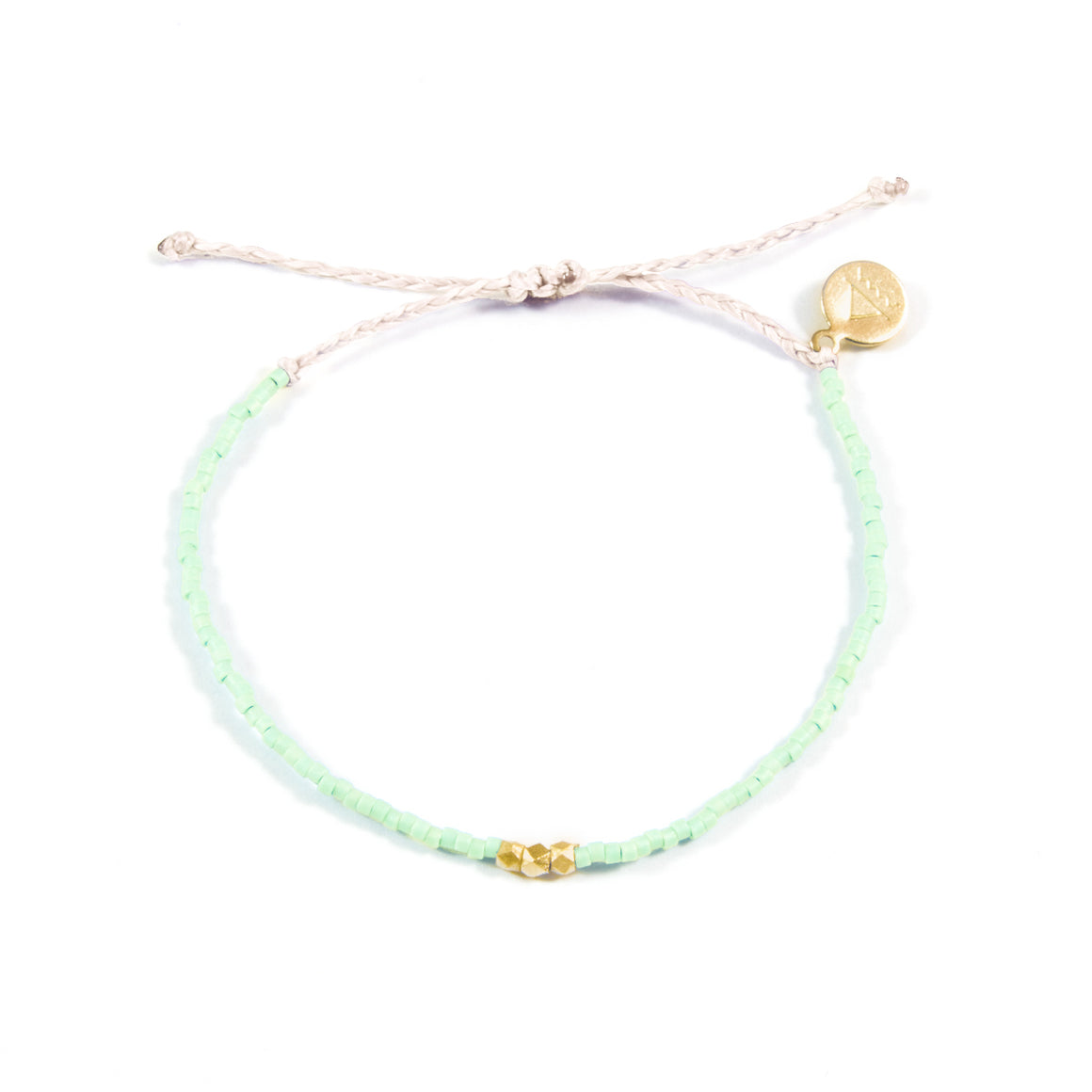 Soft Mint & White Gold Bead Bracelet