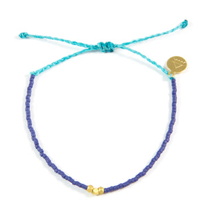 Navy & Teal Gold Bead Bracelet