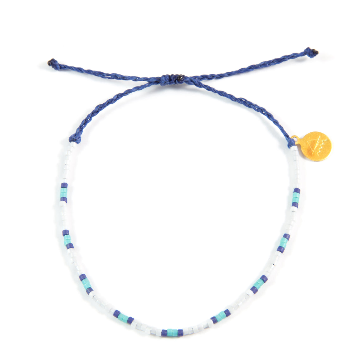 Navy & Teal Two Tone Dot Beaded Bracelet