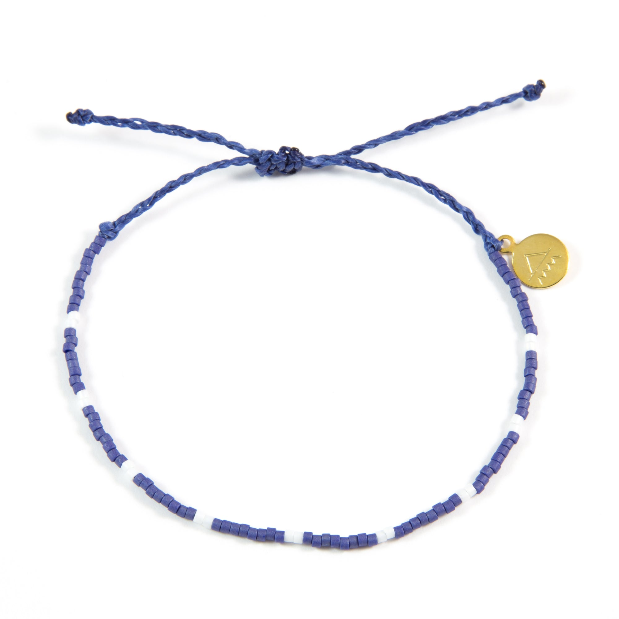 Navy w/ White Dot Beaded Bracelet