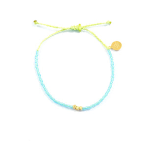 Sea Glass Aqua & Green Gold Beaded Bracelet