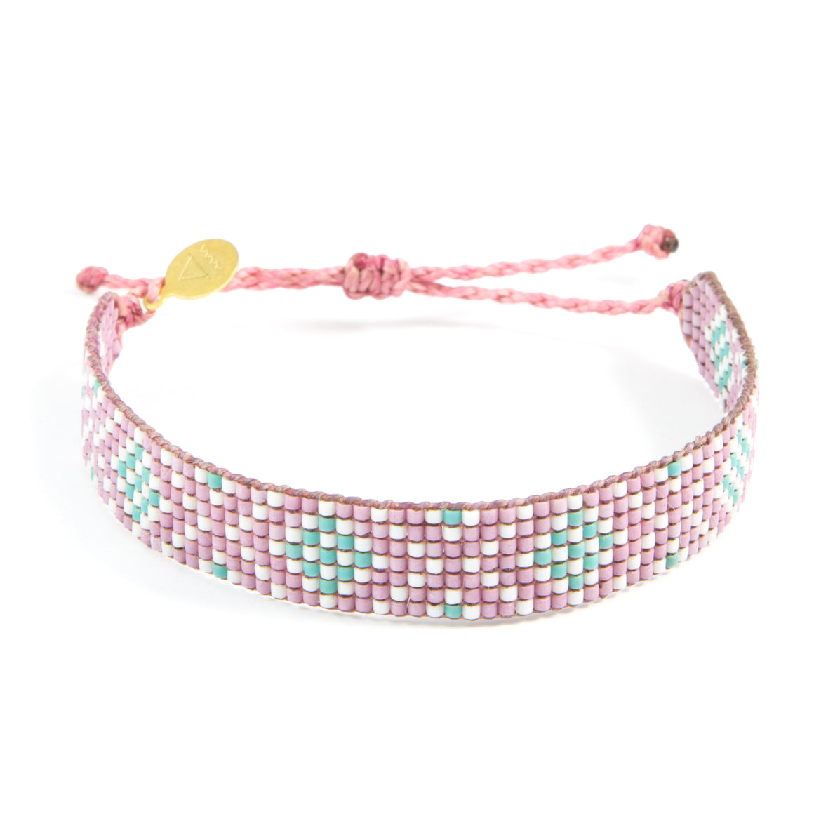 Plum Diamond Pattern Woven Bracelet