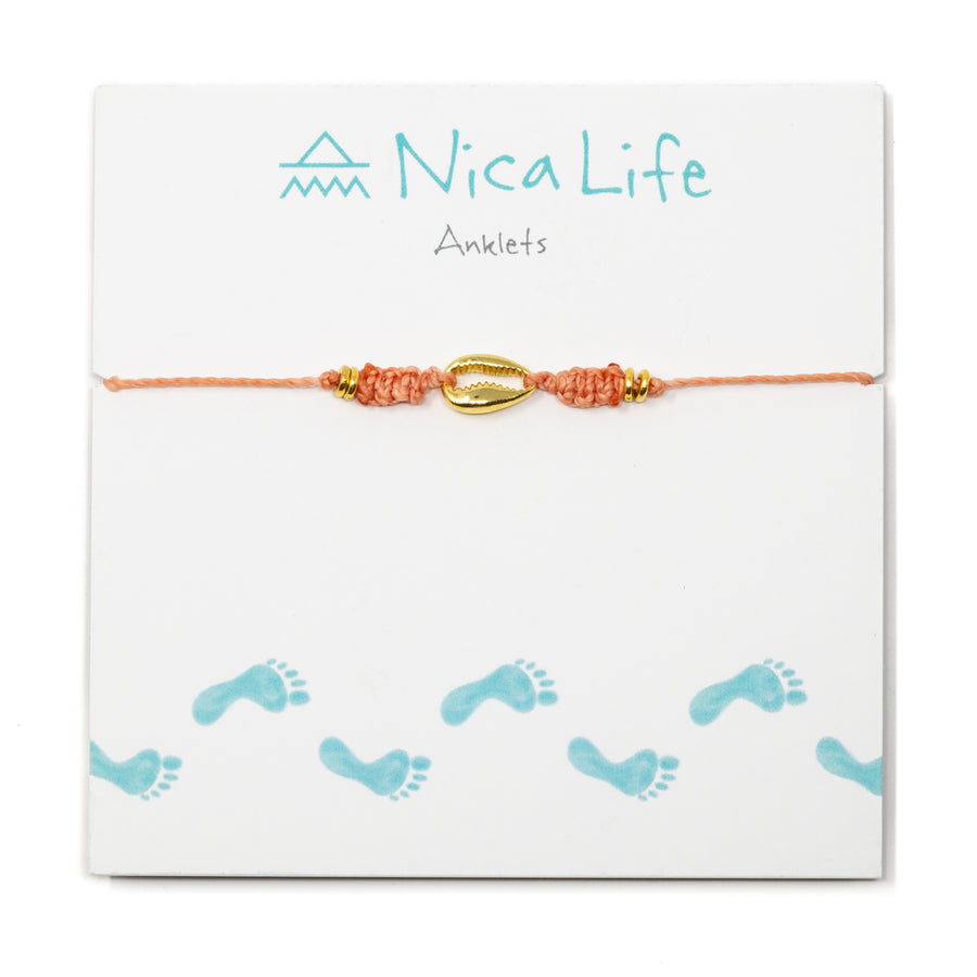 Coral Popoyo Anklet in Gold
