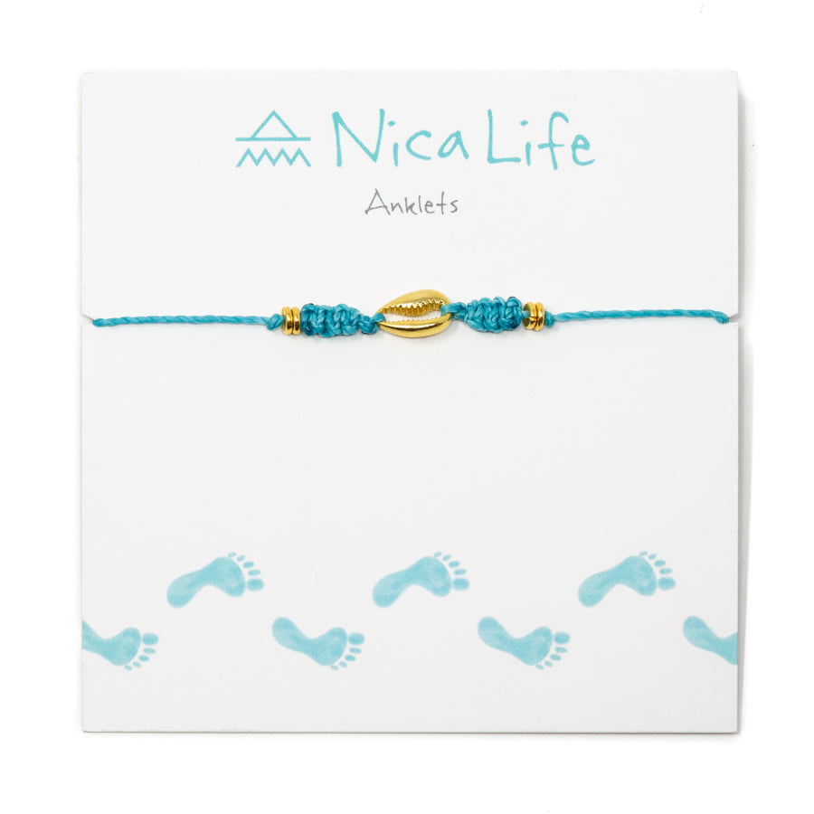 Teal Popoyo Anklet in Gold