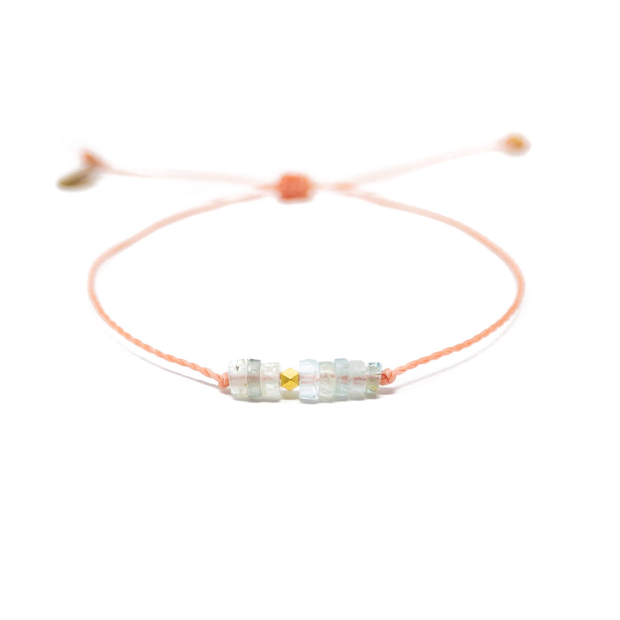 Aquamarine & Coral Intention Bracelet Gold