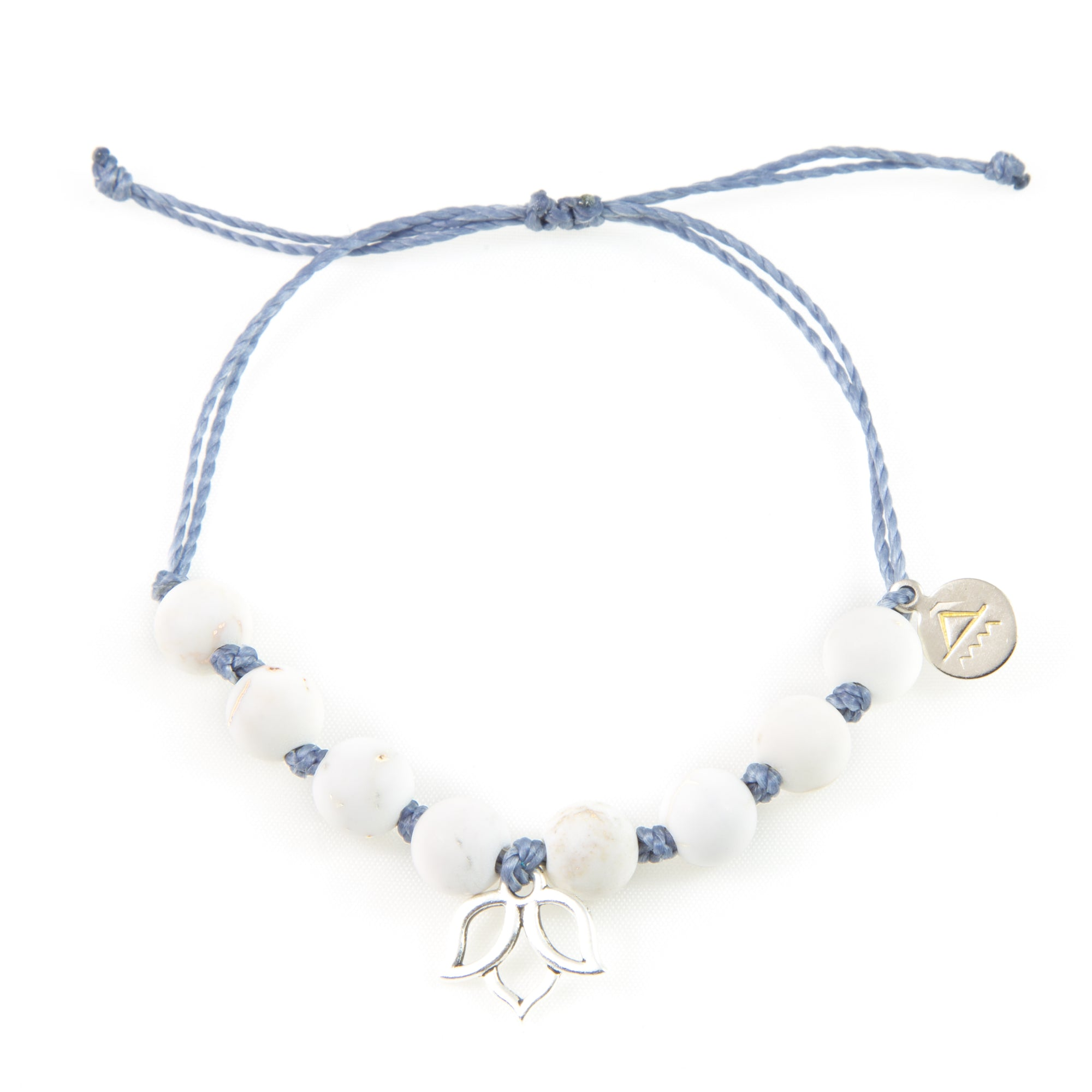 Denim & White Turquoise Lotus Flower Bracelet in Silver