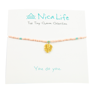 Coral & Teal Palm Leaf Tiny Charm Necklace