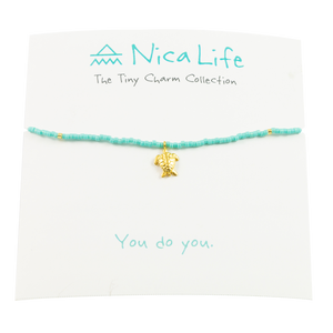 Teal & Gold Fleck Sea Turtle Tiny Charm Necklace
