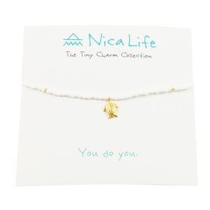 White & Gold Fleck Sea Turtle Tiny Charm Necklace