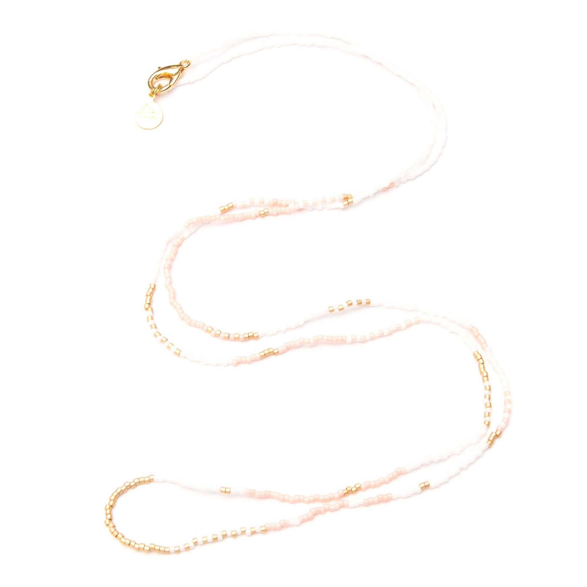 Light Coral, White & Gold Long Beaded Strand
