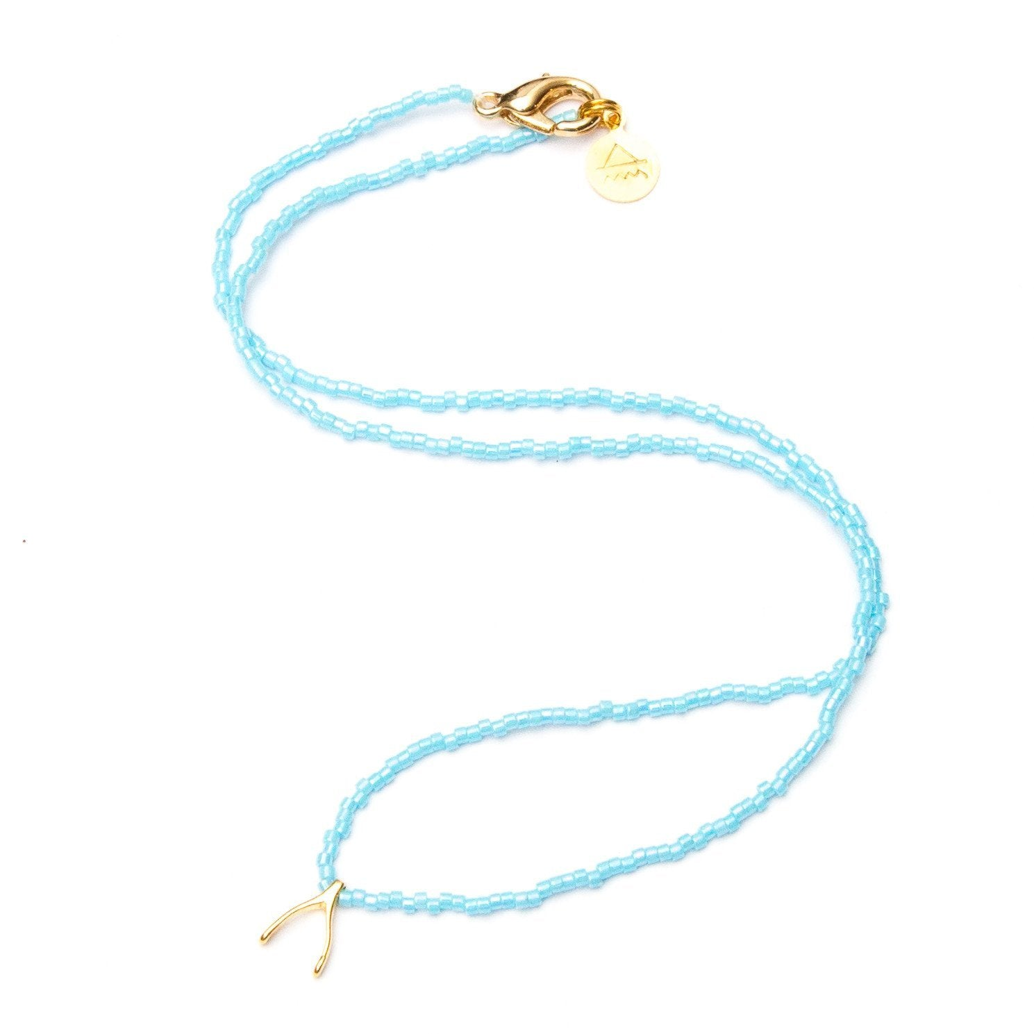 Sky Blue Wishbone Necklace