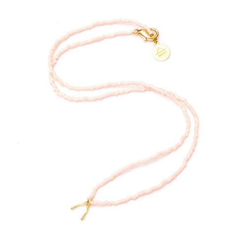 Coral Wishbone Tiny Charm Necklace
