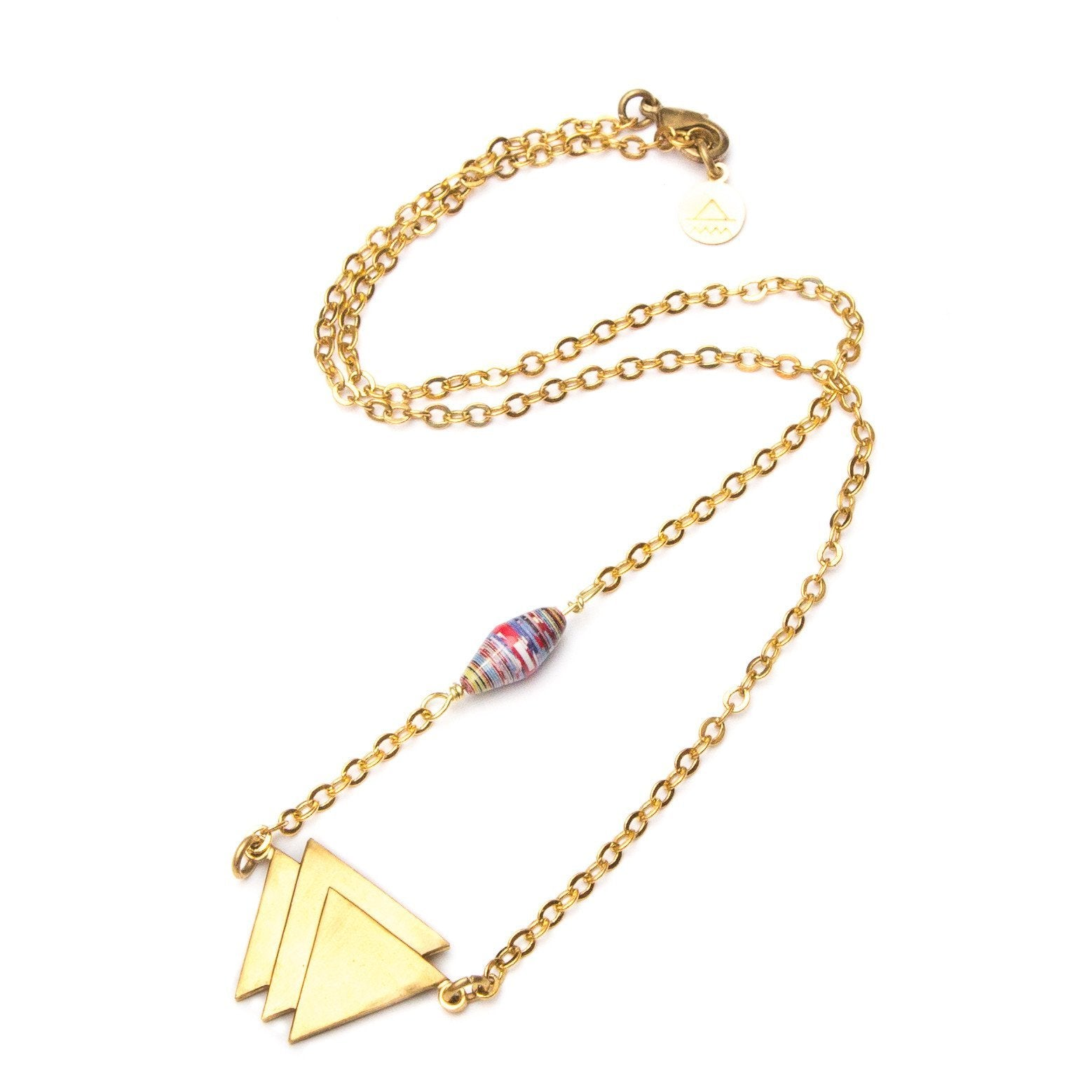 Triple Triangle & Paper Bead Necklace
