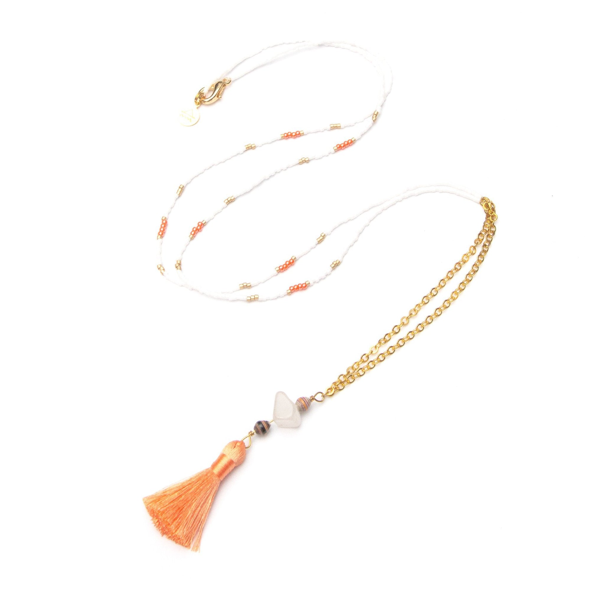Bright Coral Tassel Necklace