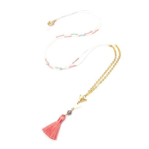 Beach Pink Boho Tassel  Necklace