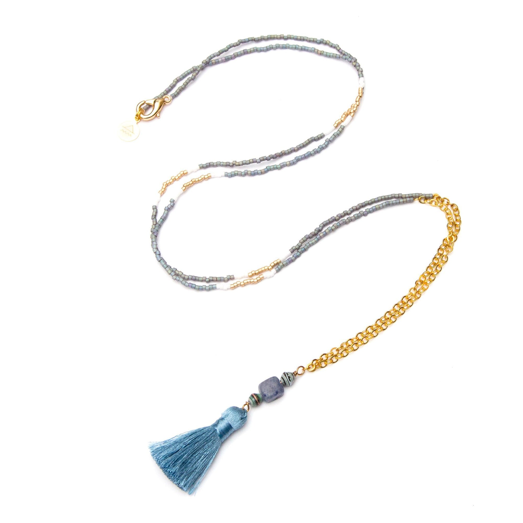 Denim Tassel Necklace