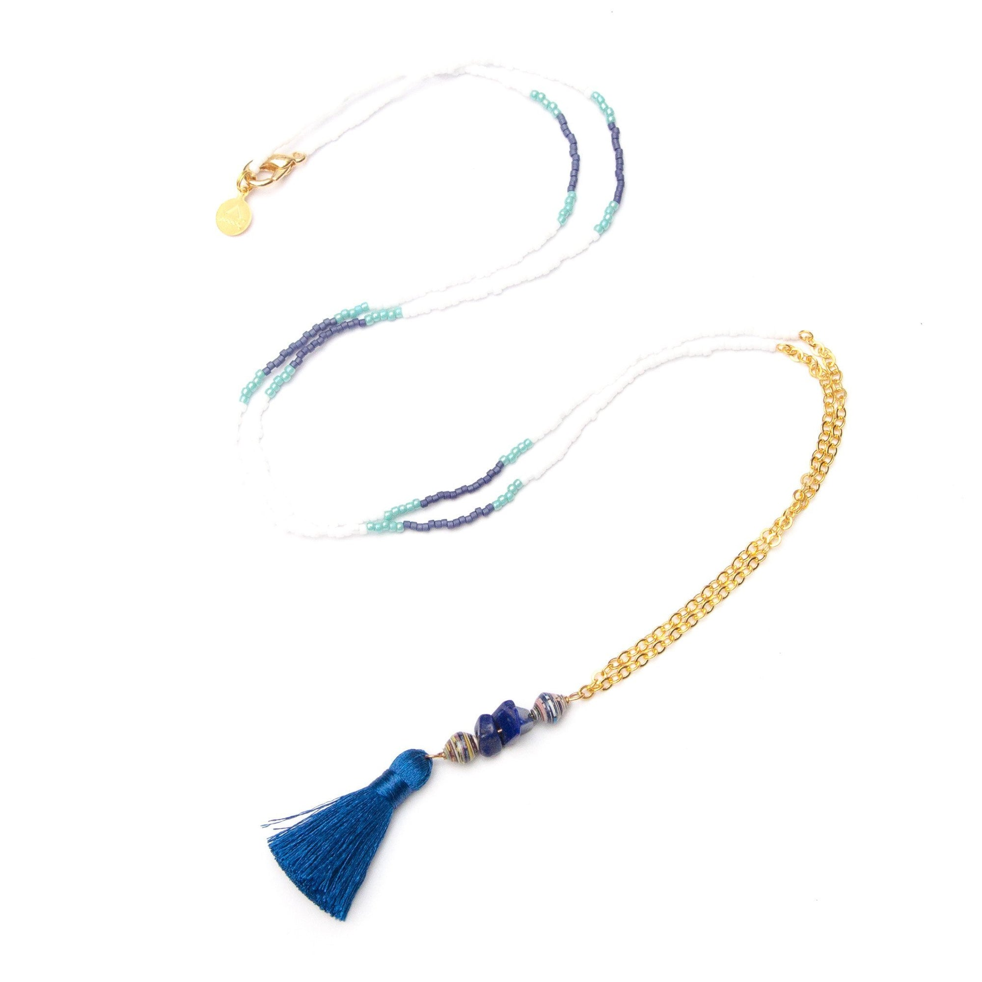 Navy Blue Tassel Necklace