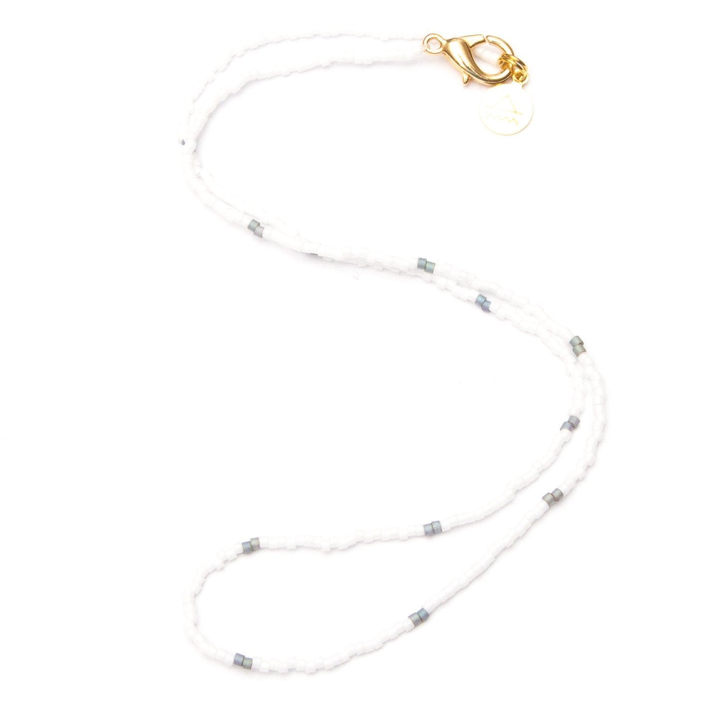 White w/ Denim Dot Necklace