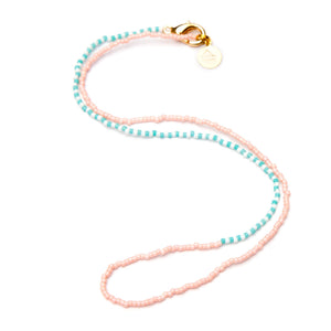 Light Coral w/Teal & White Alt Asymmetrical Necklace