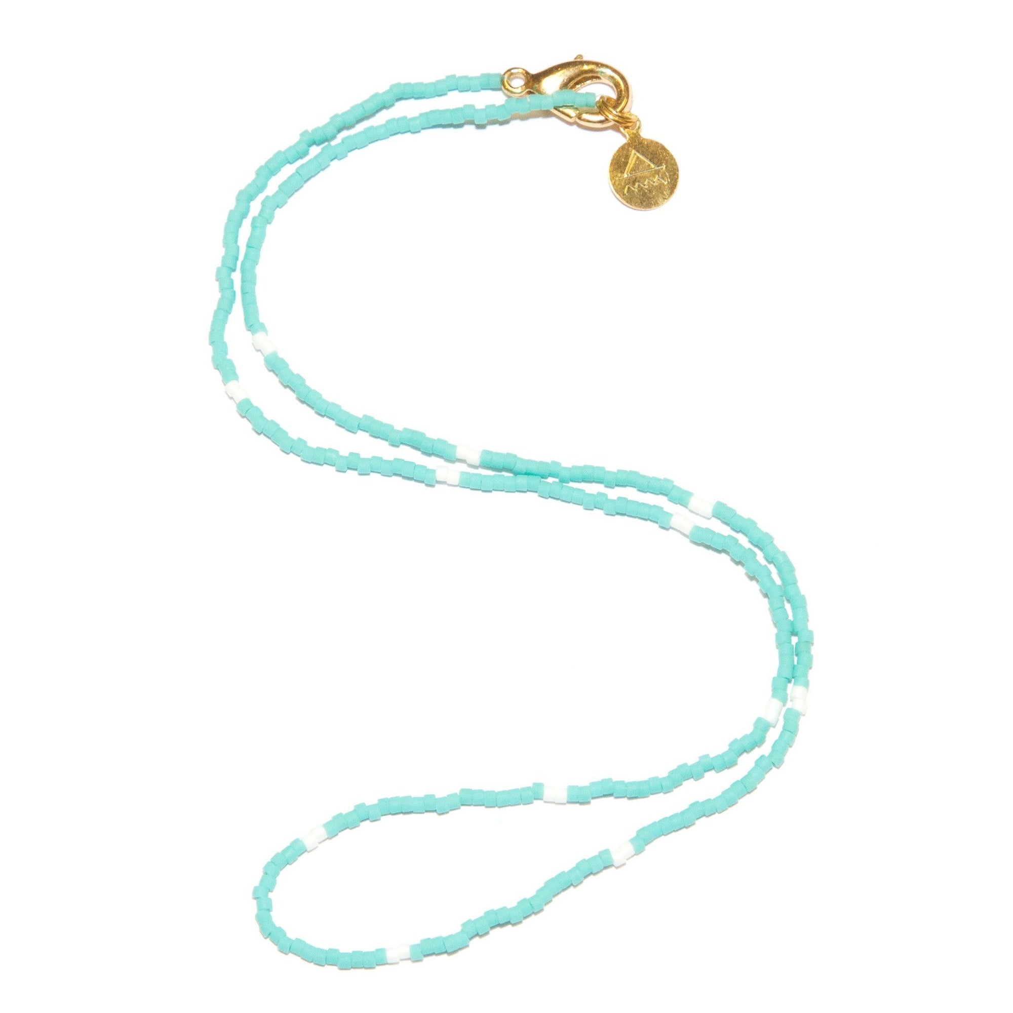 Teal w/ White Dot Necklace