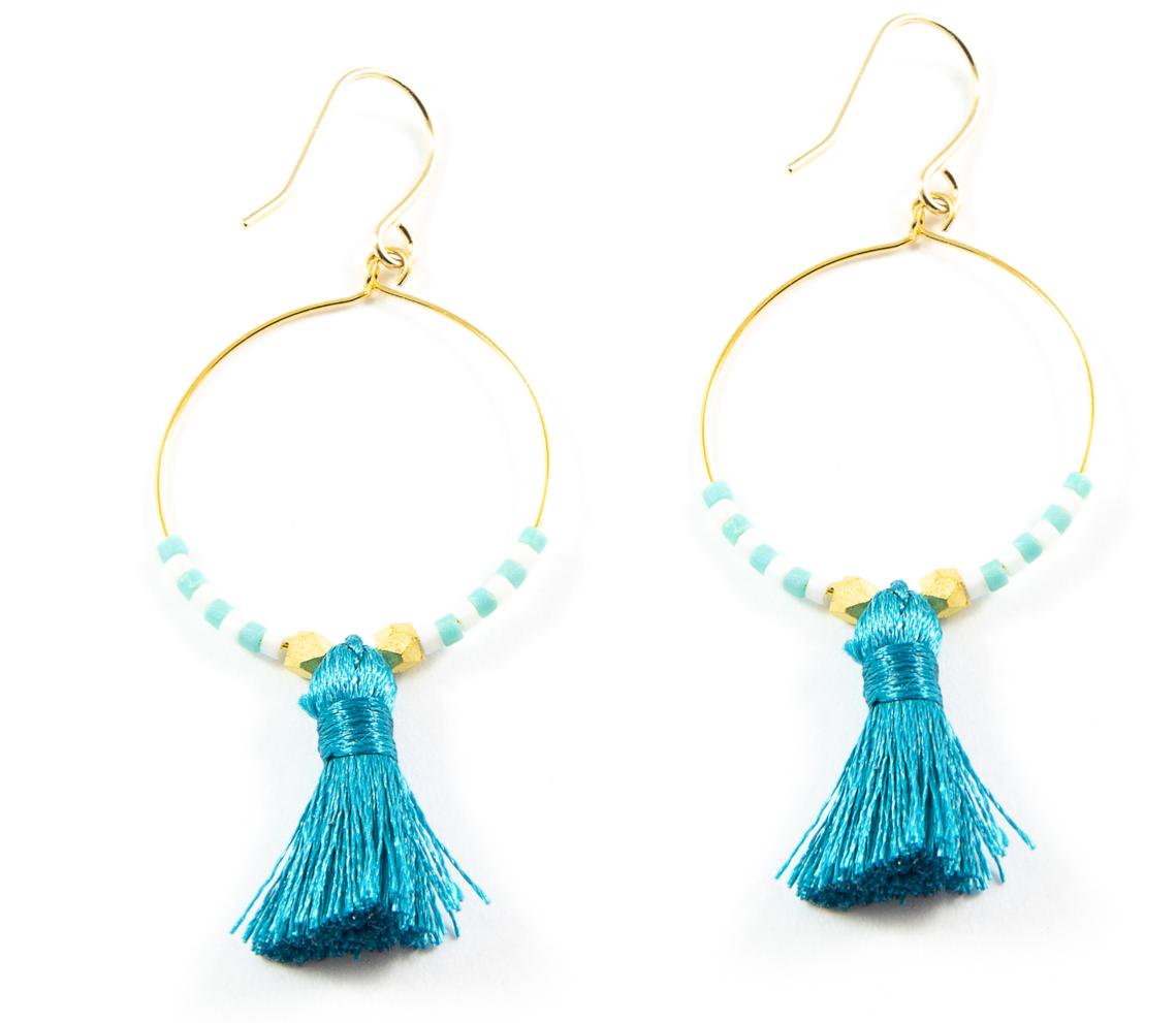 Teal Hoop Tassel Earrings in Gold