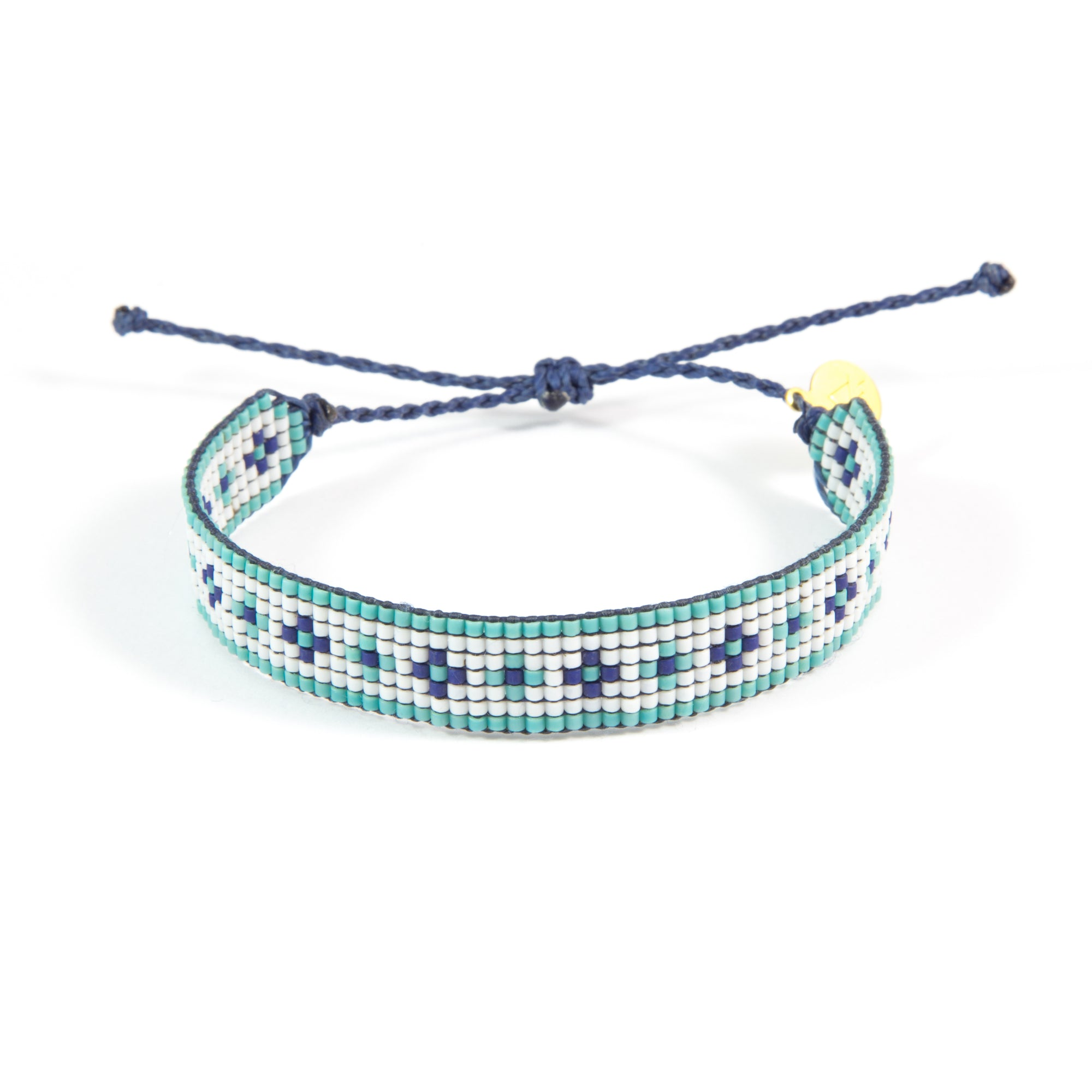 Navy & Teal Flower Pattern Woven Bracelet