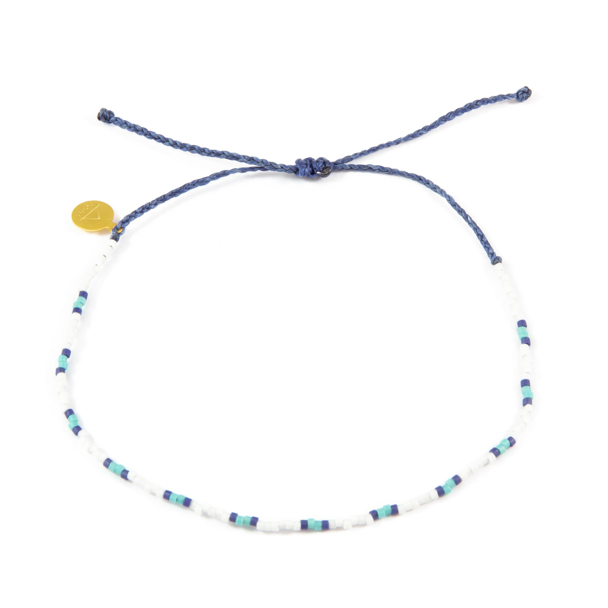 Navy & Teal Two Tone Dot Beaded Anklet
