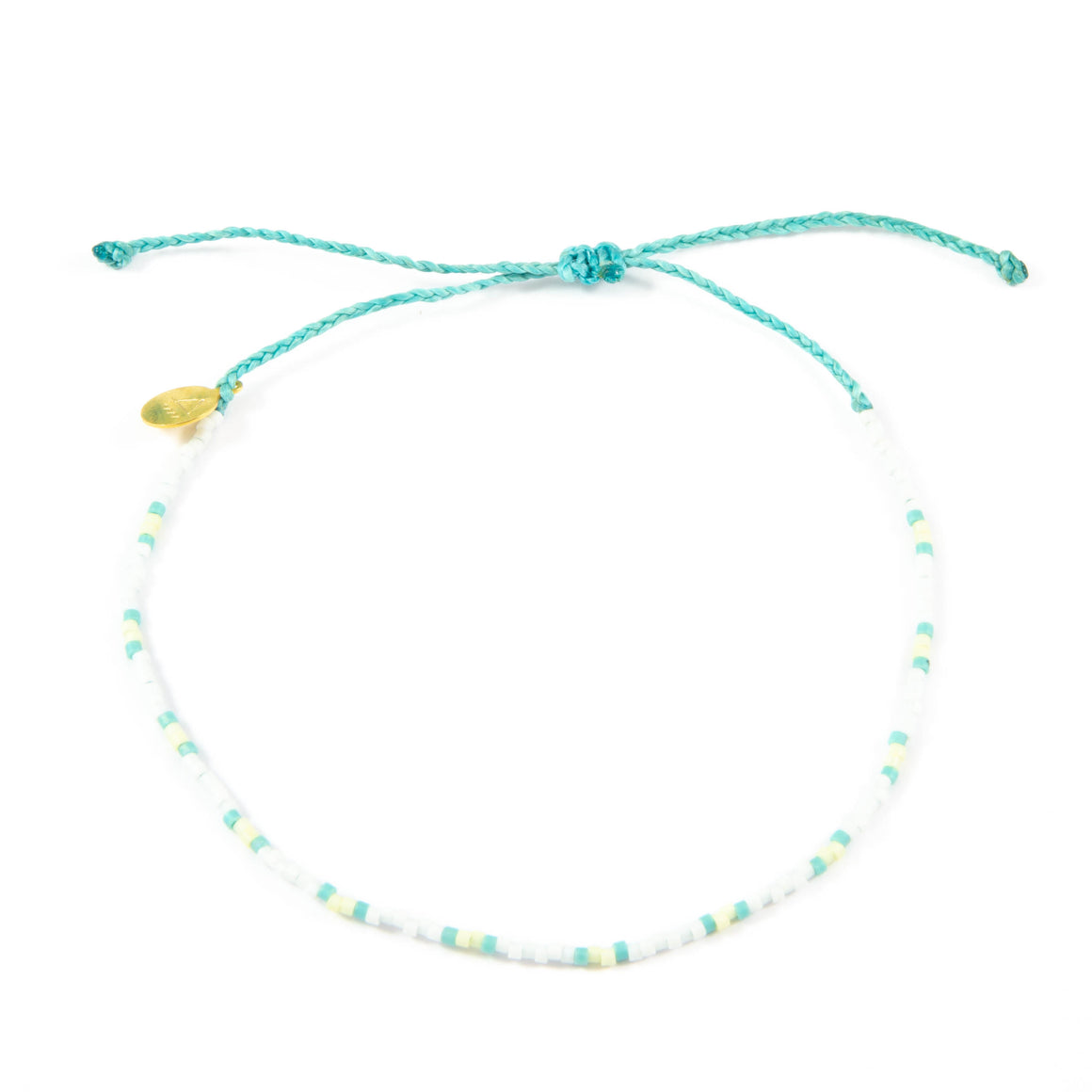 Teal & Pineapple Two Tone Dot Beaded Anklet