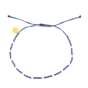 Navy w/ White Dot Beaded Anklet