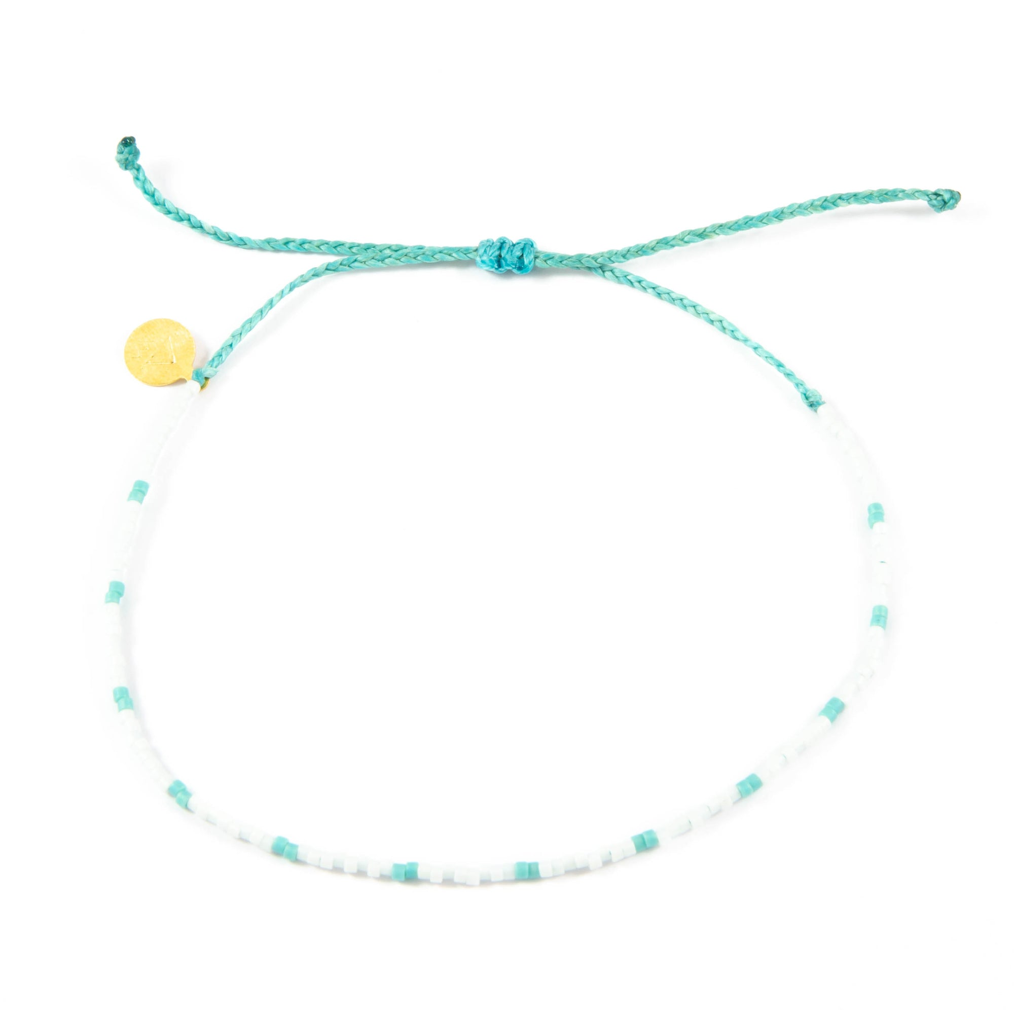 White w/ Teal Dot Beaded Anklet