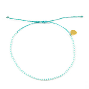 Teal & White Alternating Beaded Anklet