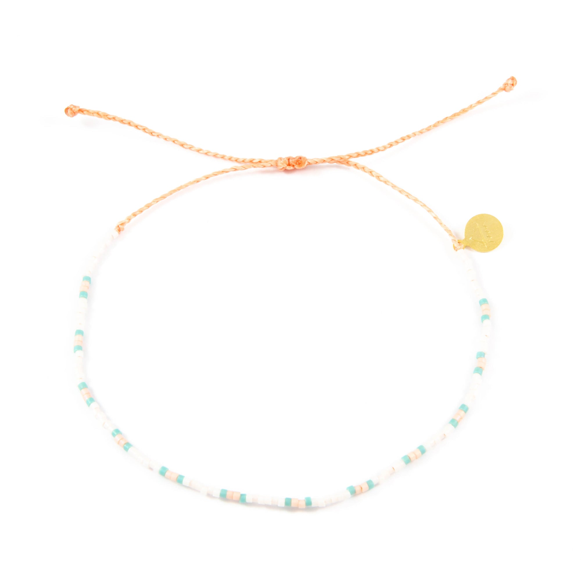 Teal & Coral Two Tone Dot Beaded Anklet