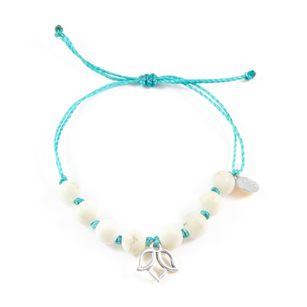 Teal & White Turquoise Lotus Flower Bracelet in Silver
