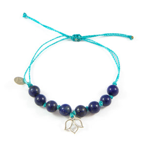Teal & Blue Lapis Lotus Flower Bracelet in Silver