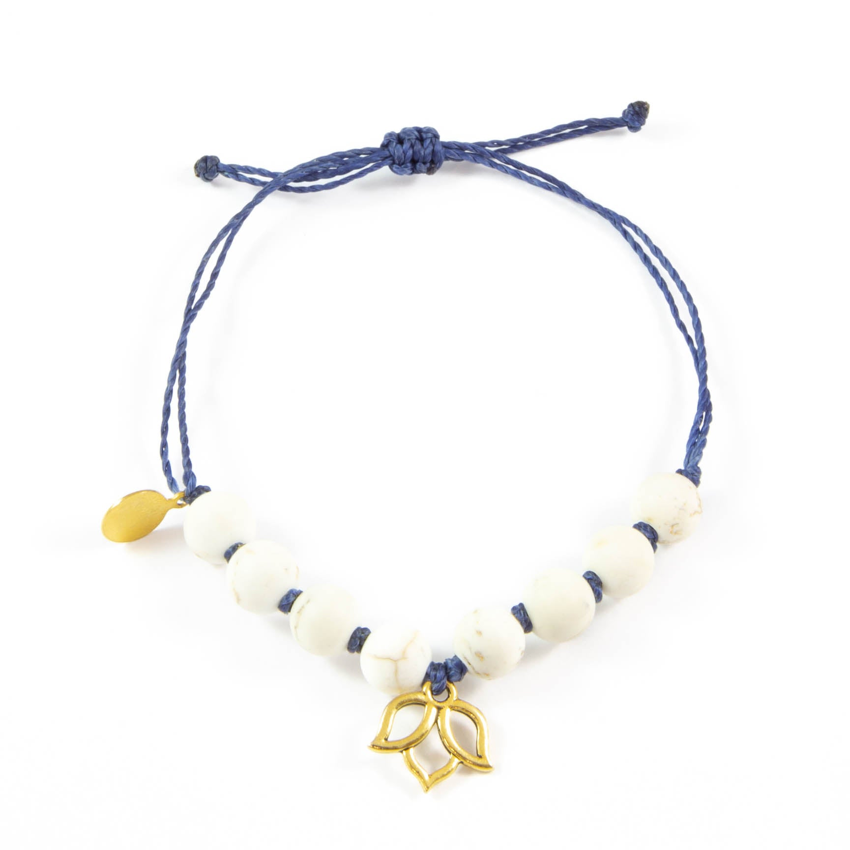 Navy & White Turquoise Lotus Flower Bracelet