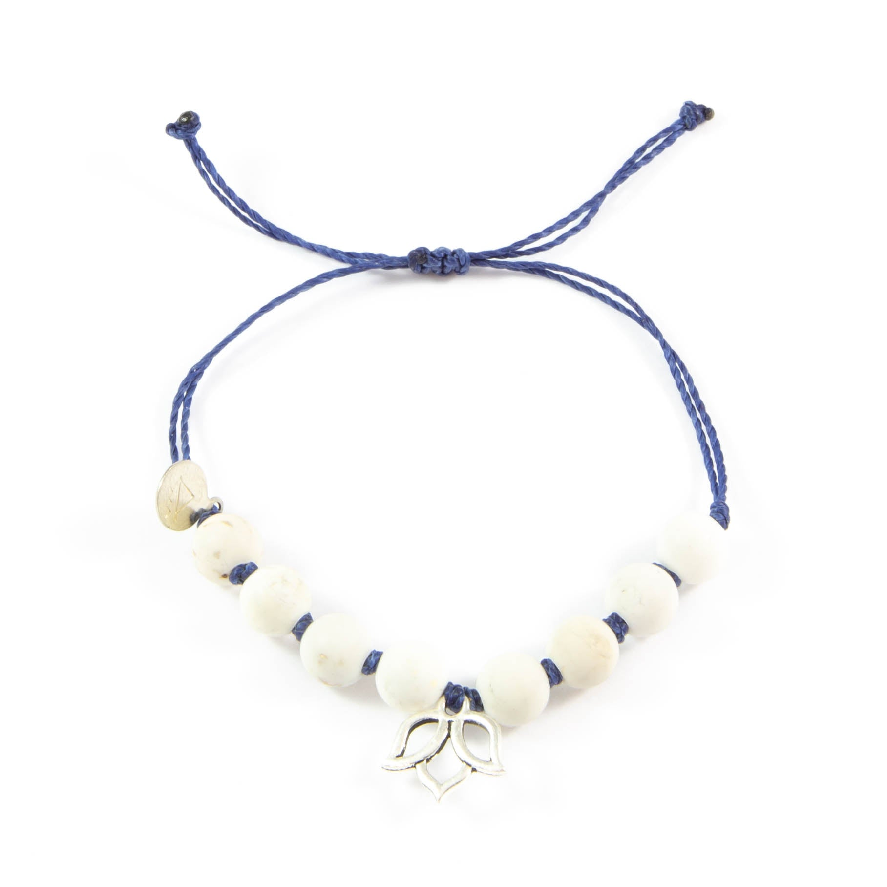 Navy & White Turquoise Lotus Flower Bracelet in Silver