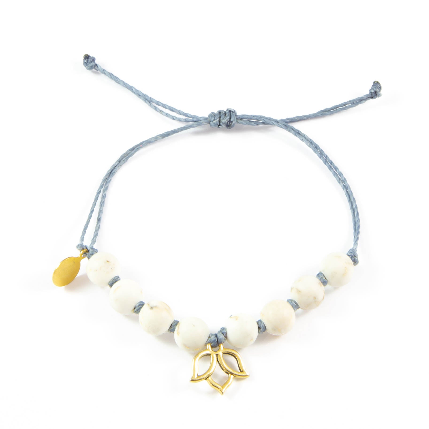Denim & White Turquoise Lotus Flower Bracelet