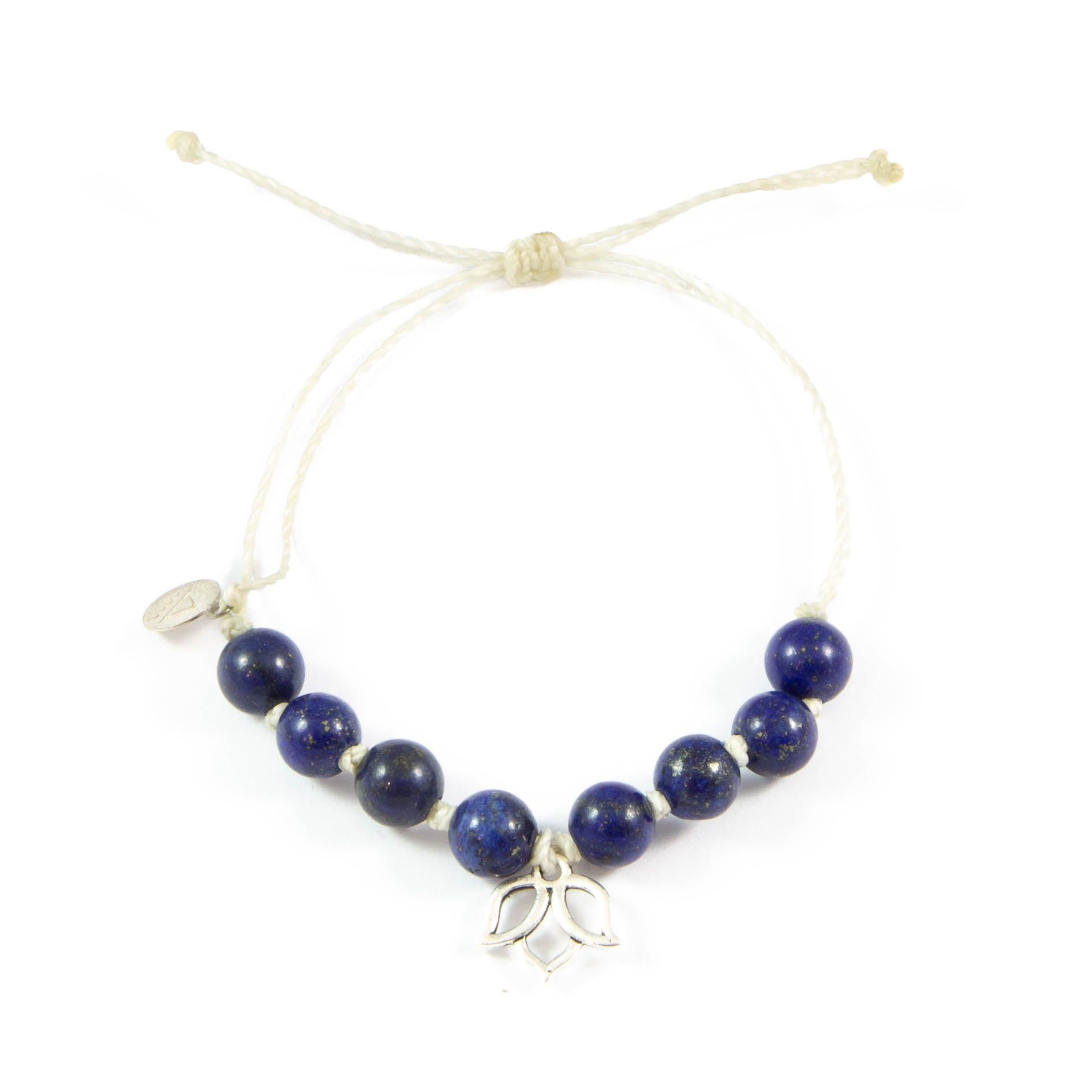 White & Blue Lapis Lotus Flower Bracelet in Silver