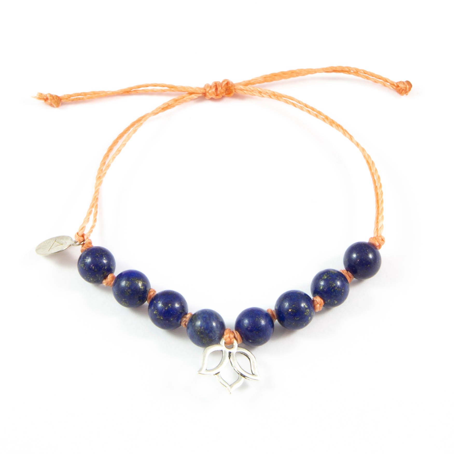 Coral & Blue Lapis Lotus Flower Bracelet in Silver