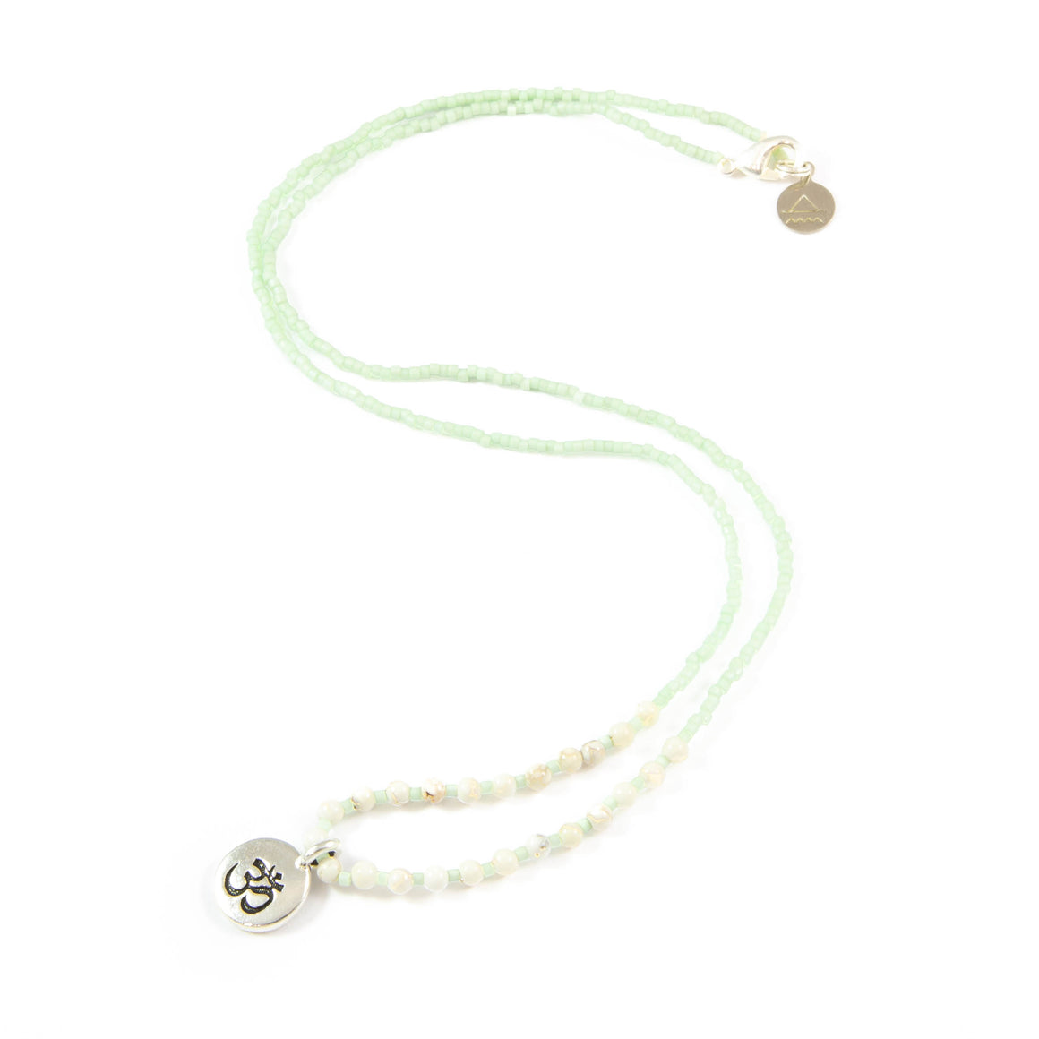Soft Mint w/ White Turquoise Stone Om Charm Necklace in Silver