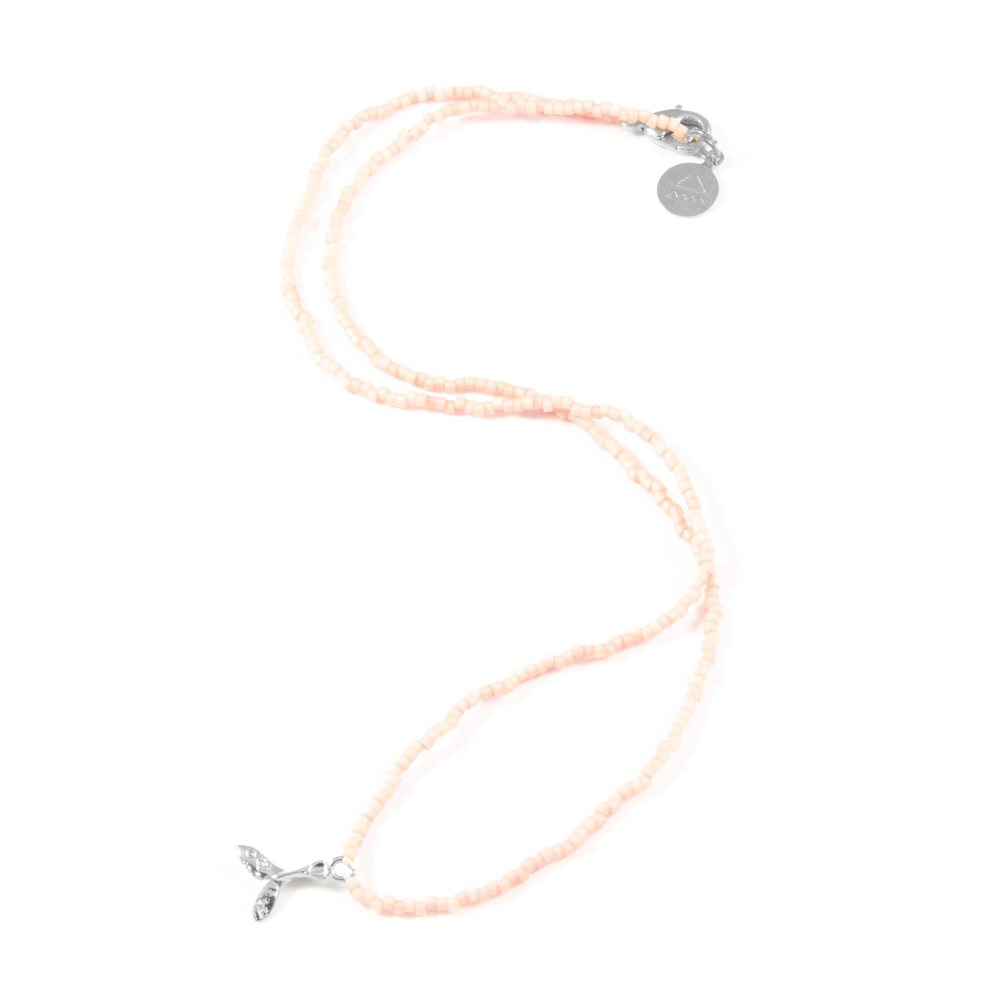Coral Mermaid Tail Tiny Charm Necklace in Silver