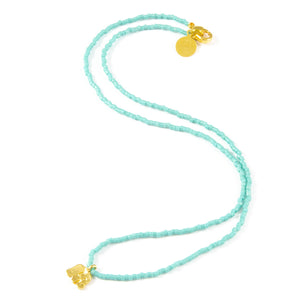 Teal Ellie Tiny Charm Necklace