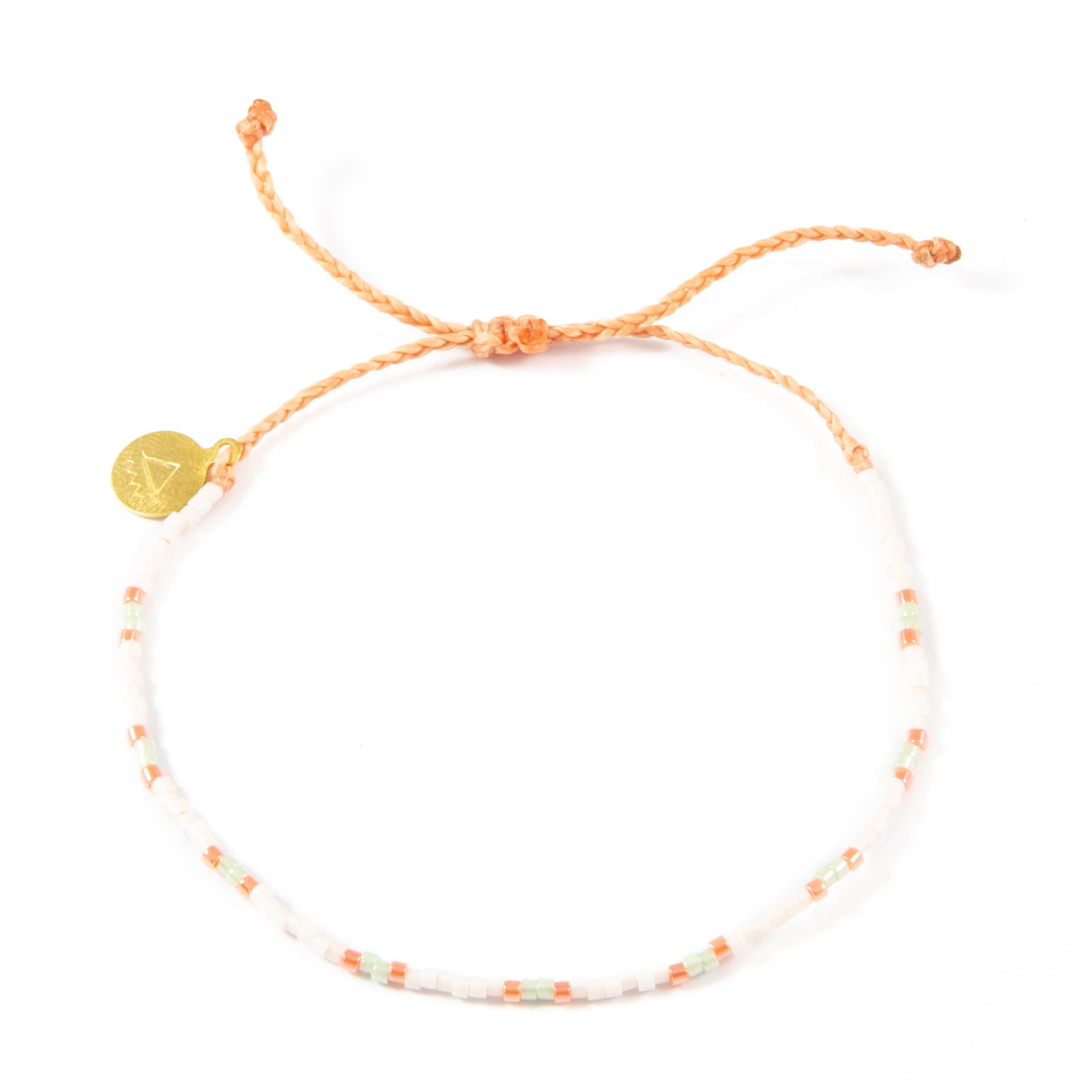 Coral & Soft Mint Pearl Two Tone Dot Bead Bracelet