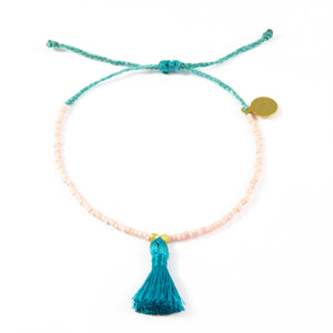Light Coral & Teal Tassel Bracelet