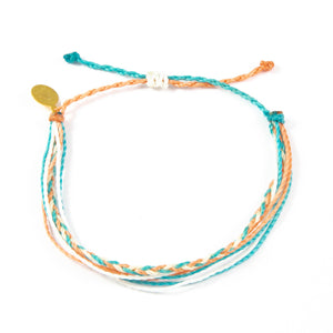 Coral & Teal Braided Education Bracelet