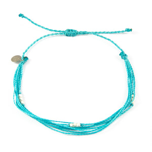 Teal Macua in Silver Anklet