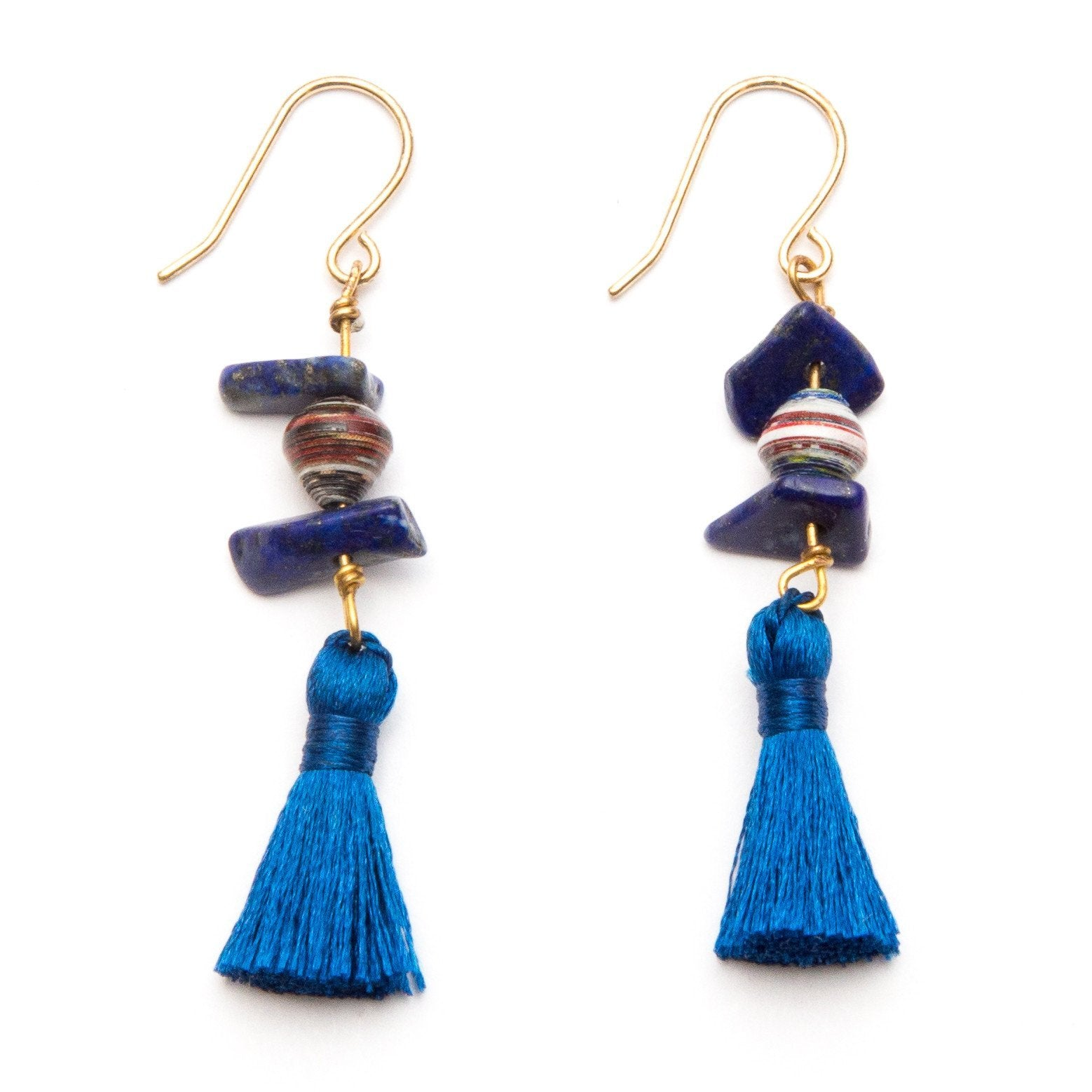 Navy Blue Tassel Earrings